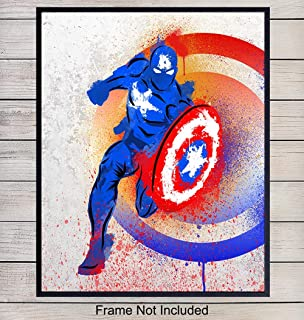 Superheroes Captain America Art Print - Rustic Wall Art Poster - Superhero Home Decor for Boys, Kids Room, Den, Man Cave, Dorm - Great Gift for Marvel and DC Comic Book Fans - 8x10 Photo - Unframed