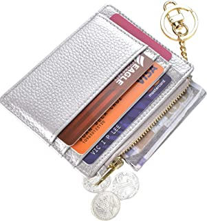 Womens Slim RFID Credit Card Holder Mini Front Pocket Wallet Coin Purse Keychain - silver - Small