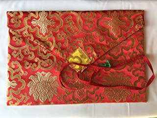 Tibetan Buddhist red Lotus Design Silk Brocade Dharma Text Cover/Book Cover/Laptop Cover/A/4 Size 10.5 inch x 13 inch