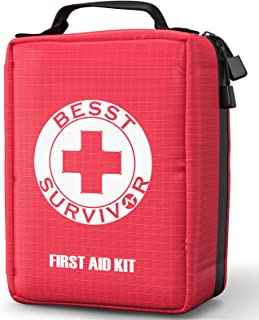 Sponsored Ad - 【2021 Upgrade】Compact First Aid Kit with Tourniquet - Trauma Kit with Labelled Compartments Molle System -E...