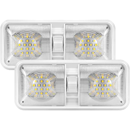 Semoic 11 Inch Double Ceiling Dome Lamp with On-Off Switch Indoor Lighting for Travel Trailer Pickup Truck Boat 4000-4500K 48-2835 SMD Neutral White Pack of 2