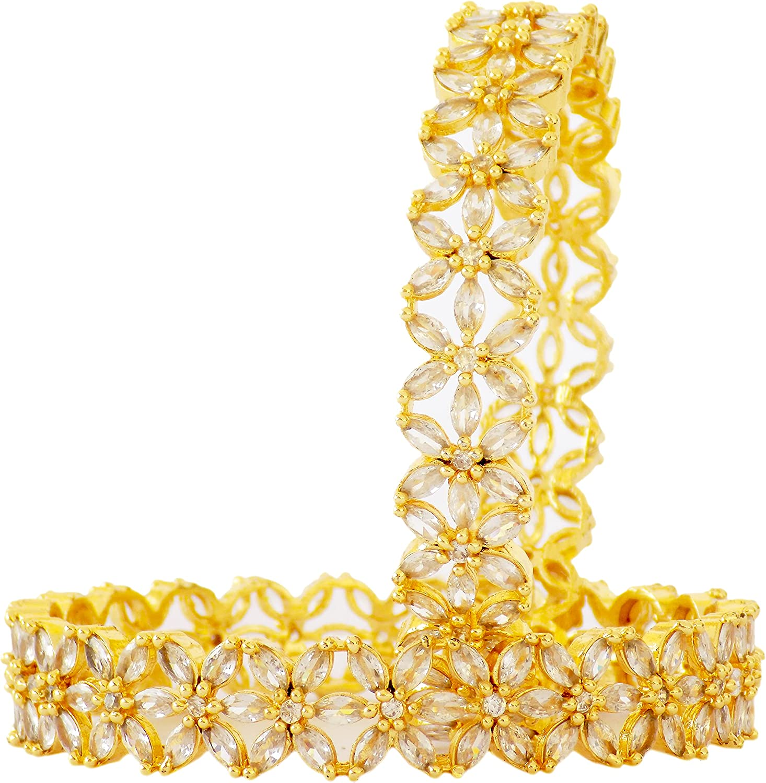 JD'Z COLLECTION Indian Bollywood Wedding Designer Bangles Set For Women & Girls, Elegant Style Traditional Bracelet Fashion Jewelry Ethnic Bangles