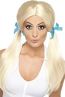 Sassy Schoolgirl Pigtails Wig, Blonde, with Ribbon Ties