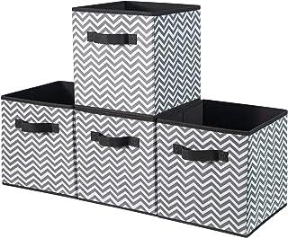 BrilliantJo Lot de 4 Boîtes de Rangement en Tissu avec Panier de Rangement Système de Rangement Pliable pour Armoire, Etag...