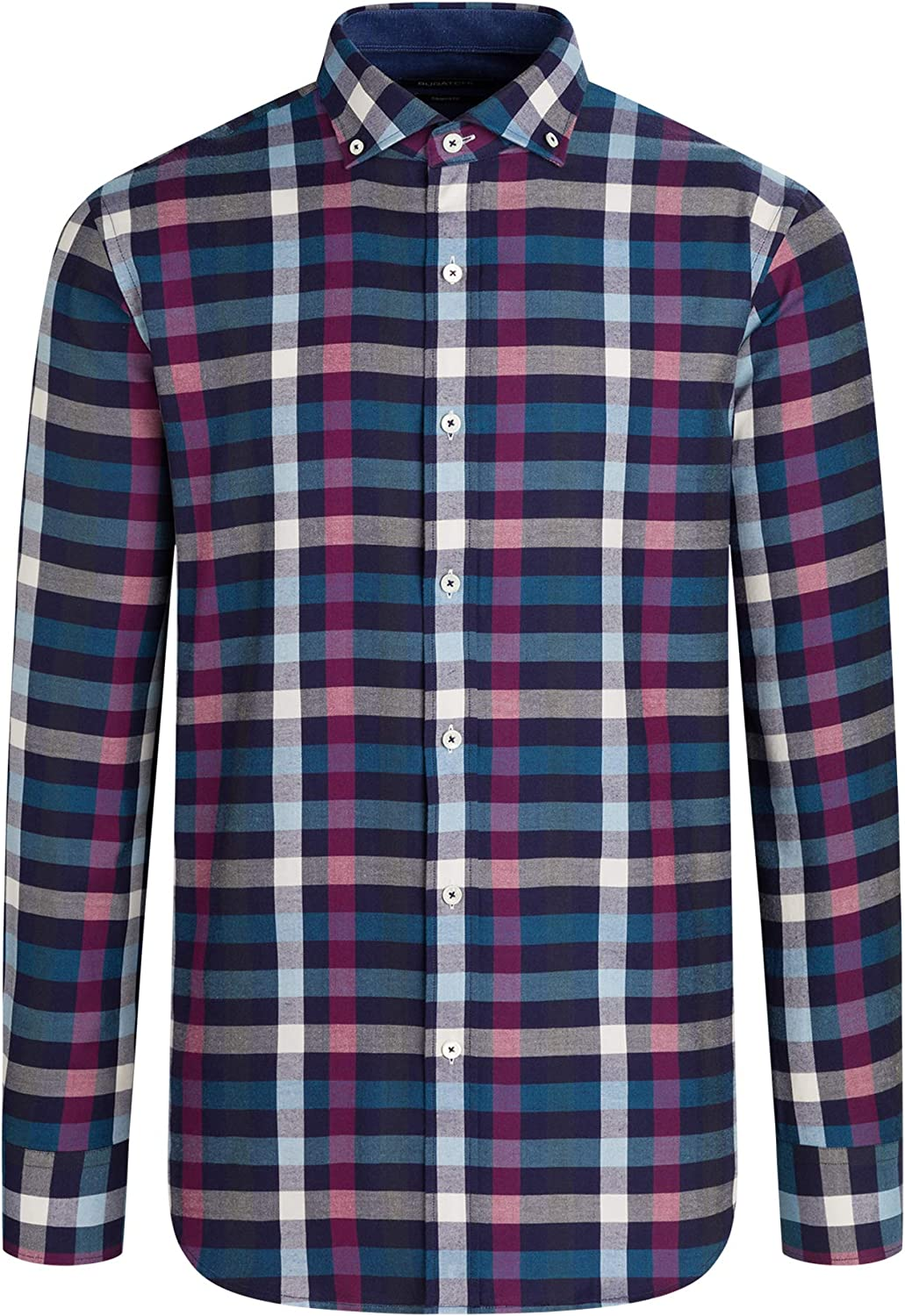 Bugatchi Men's Long Sleeve Spread Button Down Shaped Woven