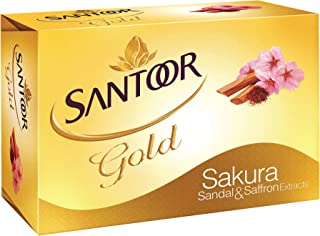 Santoor Gold Bathing Soap, 125 g X 3, Enriched with Sandal, Saffron and Sakura Extracts