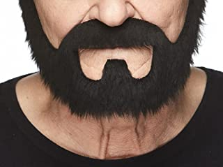 Mustaches Self Adhesive, Novelty, On Bail Fake Beard, False Facial Hair, Costume Accessory for Adults, Black Color