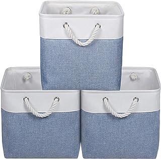 KEEGH Panier Cube de Rangement,Grande boîte de Rangement avec Couvercle [Lot de 3] Paniers de Rangement (Bleu, 33x33x33cm)
