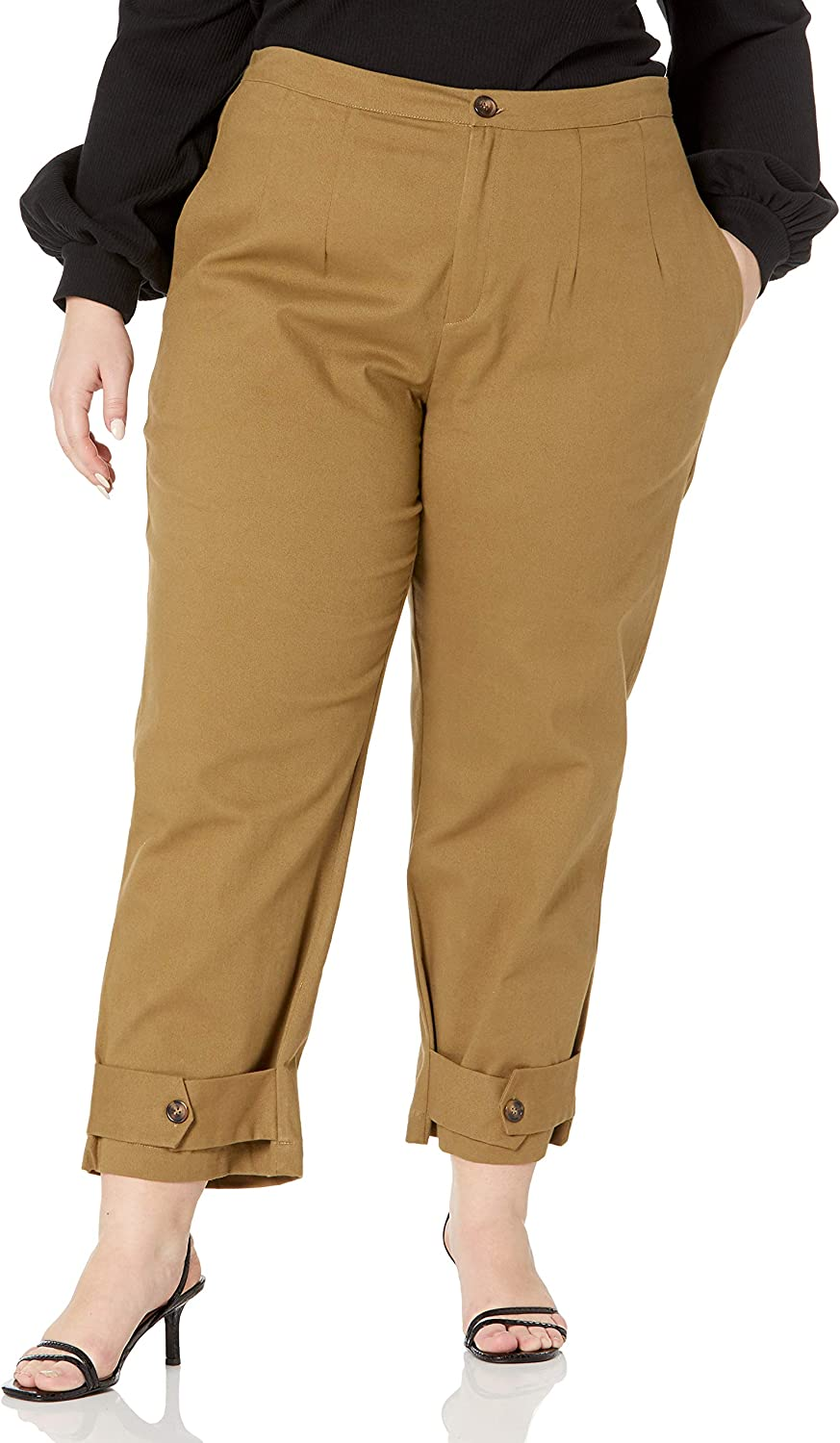 KENDALL + KYLIE Women's Belted Ankle Twill Pants