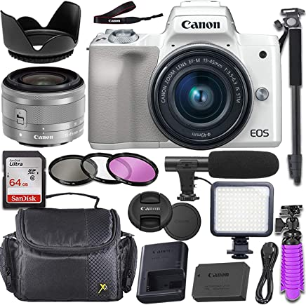 $669 Get Canon EOS M50 Mirrorless Camera (White) with Canon 15-45mm f/3.5-6.3 is STM Lens + Deluxe Video-Accessory Bundle