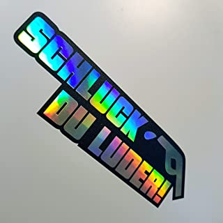 folien zentrum 1 x Schluck du Luder UV Schwarz Flip Flop 420 Hologramm Oilslick Rainbow Aufkleber Metallic Effekt Shocker Auto JDM Tuning OEM Dub Decal Sticker Illest Dapper Oldschool
