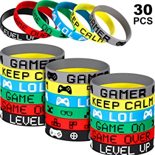 30 Pieces Video Game Bracelets Rubber Bracelets Game Party Wristbands Supplies Colored Silicone Bracelets for Gamer Birthday Party Favors, 6 Styles (30 Pieces)