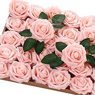 Jastella 72Pcs Artificial Rose Flowers with Stem, Real Looking Foam Fake Roses for DIY Wedding Bouquets Centerpieces Party Home Decor (02# Blush)