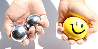 pr Heavier Iron Ball Plus Smiley Happy Face Squeeze Ball, Stress Relief Finger Therapy After Hand Exercise Grip Ball, X Man Mangeto's Toy Iron Balls, Yellow