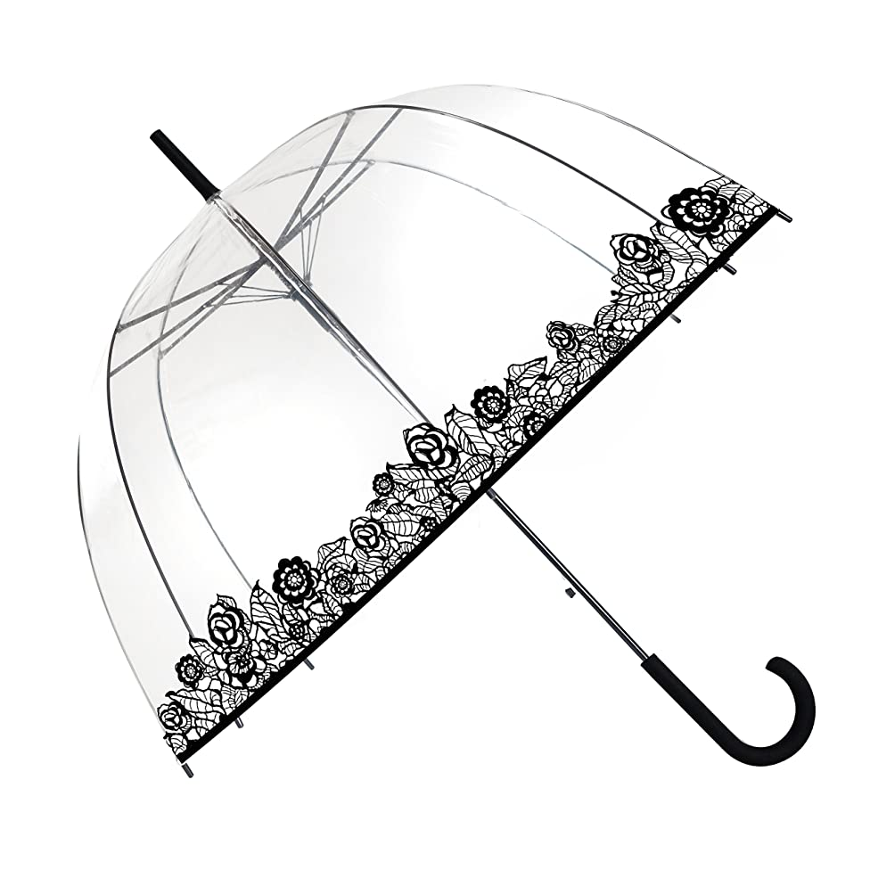 SMATI Stick Umbrella Dome Transparent (The Enhanced Edition Cat and Dog) - Auto Open - for Women and Kids
