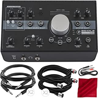 Mackie Big Knob Studio Monitor Controller Interface + Accessory Bundle with 5X Cables and Fibertique Cloth