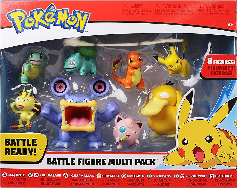 "Pokemon Battle Figure 8-Pack - Comes with 2"" Pikachu, Bulbasaur, Multi"