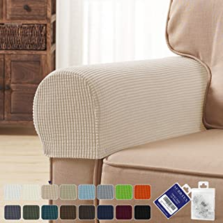 subrtex Spandex Stretch Fabric Armrest Covers Anti-Slip Furniture Protector Armchair Slipcovers for Recliner Sofa Set of 2 with Free Fixing Tools Twist Pins (Camel), Two Pieces