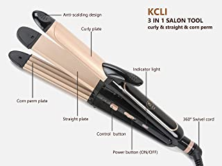 KCLI 3 in 1 Hair Styler Curling Iron&Flat Iron&Corn Perm Plate for All Types of Hair,Hair Straightener&Curler,Dual Voltage