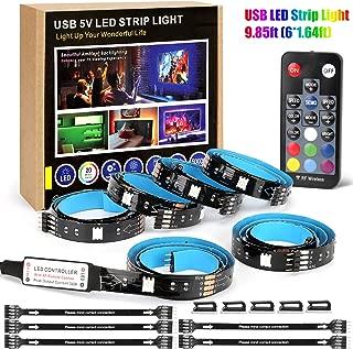 USB Multi-Color LED Strip Light Kit,9.85ft(6x1.64ft) Black 5V 5050 RGB LEDs Lighting with 18-Key RF Controller for Remote Home Decor Mood Lighting kit DIY Kitchen, Cupboard, Desk, TV Backlight, Shelf