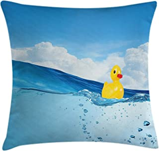 Rubber Duck Throw Pillow Cushion Cover, Little Duckling Toy Swimming in Pond Pool Sea Sunny Day Floating on Water, Decorative Square Accent Pillow Case, 18 X 18 Inches, Blue and Yellow
