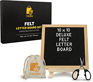 Wooden Black Aomoya Letter Board – with Stand, Brass Wall Hanger, Scissors, Bag, 300 White Letters and 10 Inch Sq. Oak Frame - for Instagram Bulletins, Family Messages, Kids Fun, Café Menus