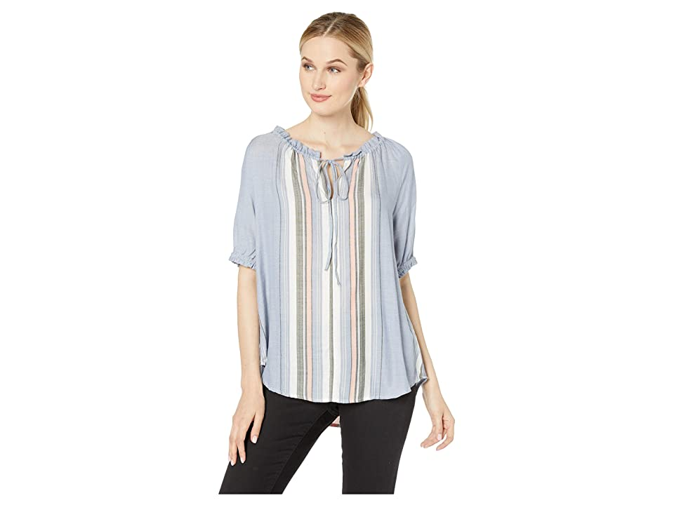 Dylan by True Grit Pacific Stripe Short Sleeve Blouse with Tie (Chambray) Women's Blouse, White
