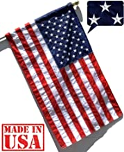US Flag Factory - American Flag (Pole Sleeve) (Embroidered Stars & Sewn Stripes) Outdoor SolarMax Nylon Flag - 100% Made in America (3x5 FT)
