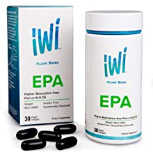 IWI Omega-3 Oil EPA - Doctor Recommended Algae Oil Soft Gel Capsules - 30 Day Supply - Better Absorption, 100% Vegan Non GMO - Healthier Than Fish Oil - Supports Everyday Health and Wellness.