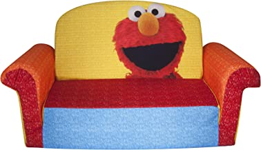 Marshmallow Furniture, Children's 2 in 1 Flip Open Foam Sofa, Sesame Street's Elmo/Sesame, by Spin Master