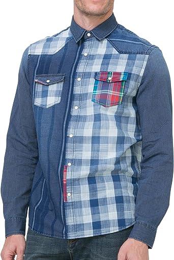Desigual - Camisa casual - para hombre 5096 M: Amazon.es: Ropa
