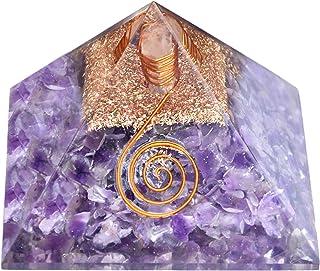 Healing Crystals Chakra Stones Emf Protection Orgone Pyramid, Reiki Energy Meditation Negative Ion Generator Pyramid For P...