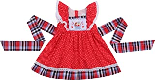 Smocked Dresses for Girls Featured with Angels Sleeve and Hand Smocked Cute Couple Pattern on The Chest