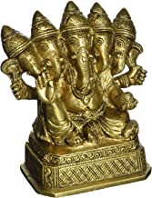 Panchmukhi Ganesha Brass Statue Five Faced Indian God Murti Idol Hindu Religious 4.5 inch