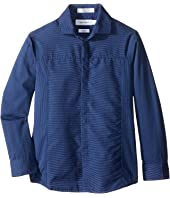 Calvin Klein Kids - Long Sleeve Tick Dobby Stripe Pieced Shirt (Little Kids)
