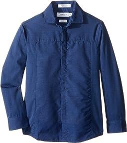 Long Sleeve Tick Dobby Stripe Pieced Shirt (Little Kids)