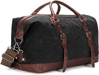 BAOSHA HB-14 Vintage Segeltuch Canvas PU Leder Unisex Handgepäck Reisetasche Sporttasche Weekender Tasche für Kurze Reise am Wochenend Urlaub Arbeitstasche 40 Liter Aktualisiert Schwarz