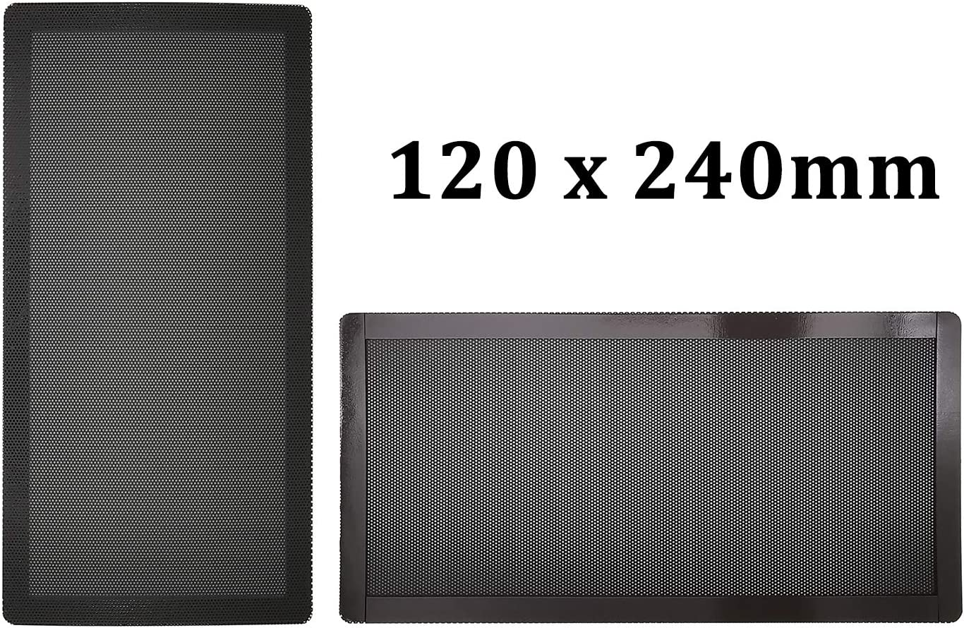 120mm x 2 PC Computer Case Fan Dust Filter Screen Dustproof Case Cover with Magnet, Ultra Fine PVC Mesh, Black Color - 2 Pack