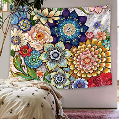 Neasow Colorful Floral Tapestry Wall hanging, Bright Boho Fabric Blossom Tapestries, Multi Color Tapestry for Bedroom Home Hi