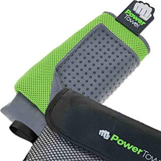 PowerTowel, New 2020 Sports Towel, 100% Microfiber Towel, Super Absorbant, Fast Dry, Holding Magnet, Bench Fold, Non Slip Rubber Dots, Special Double Layer Face and Body Section