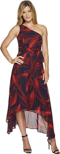 Vince Camuto - Printed Chiffon One Shoulder Dress