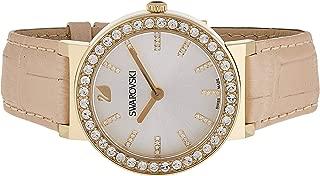 Swarovski Watch For Women Octes Dressy Black Leather, 5182266, Gold Band, Analog Display