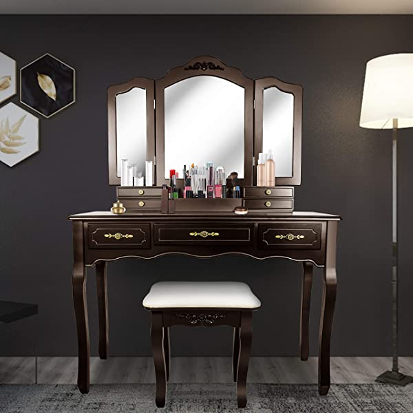 Tri Folding Mirror Vanity Table Set Dressing Table With Cushioned Stool 7 Storage Drawer Wood Furniture Espresso