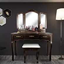 Tri Folding Mirror Vanity Table Set Dressing Table with Cushioned Stool& 7 Storage Drawer Wood Furniture (Espresso)