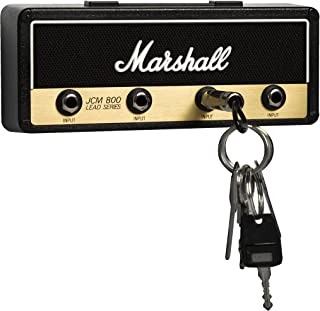 Licensed Marshall Jack Rack- Wall mounting guitar amp key hanger. Includes 4 guitar plug keychains and 1 wall mounting kit. Easy installation.
