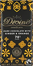 Divine Chocolate 70% Dark Chocolate with Ginger and Orange Bar, 3.5 Ounce (Pack of 10)