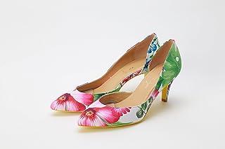 SOLJapan 大きいサイズ靴 人気 大きいサイズ レディース靴 大きいサイズパンプス パンプス 痛くならない【25㎝~27㎝】【日本製】リゾート花柄セパレートパンプス