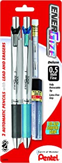Pentel EnerGize Automatic Pencil with Lead and Erasers, 0.5mm, Assorted, 2 Pack (PL75LEBP2)