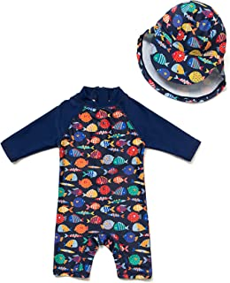 (TM) Kids UPF 50+ Sun Protection S/S One Piece Zip Sun Suit With Sun Hat (3-6 months, Colorful fish)