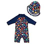 BONVERANO Kids UPF 50+ Sun Protection 3/4 Sleeves One Piece Zip Sunsuit with Sun Cap(6-9 Months, Colorful Fish)